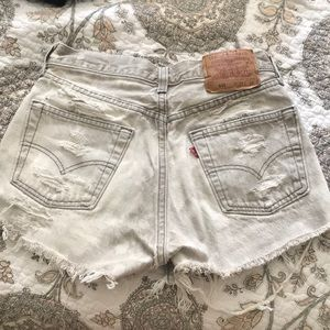 Vintage dyed-distressed high waisted Levi's shorts